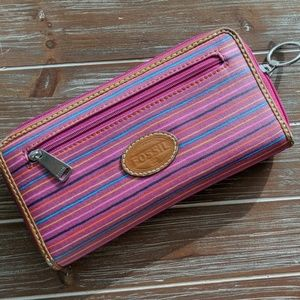 Fossil pink striped zip wallet